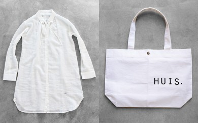 [№5786-1653]HUIS遠州織物テンセルコットンワンピース(白)&トートバッグ