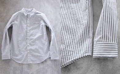[№5786-1610]HUIS遠州織物タイプライタークロスコットンストライプシャツ(グレー)