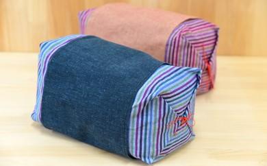 [№5786-1416]遠州綿紬 竹炭そば殻入りごろ寝枕セット