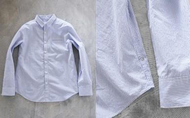 [№5786-1609]HUIS遠州織物タイプライタークロスコットンストライプシャツ (ブルー)