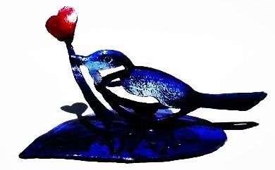 【E009】ハートを届ける鳥(鉄アート)