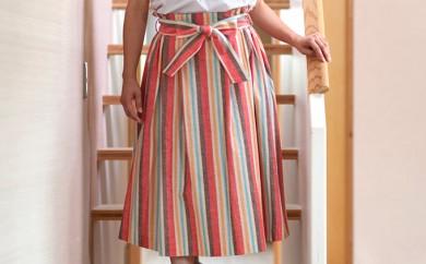 [№5786-1123]【遠州綿紬】 タックスカート(ソレイユ)