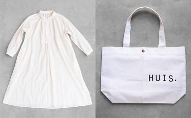 [№5786-1652]HUIS遠州織物なめらかコットンワンピース(きなり)&トートバッグ