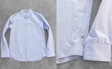[№5786-1608]HUIS遠州織物コットンリネンシャツ(ブルー)