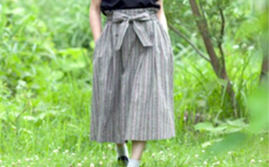 [№5786-1124]【遠州綿紬】 タックスカート(春霖)