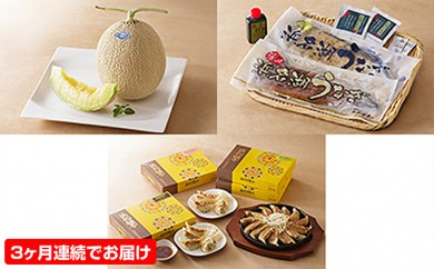 [№5786-1343]頒布会 メロン・うなぎ・浜松餃子食べ比べコース 全3回