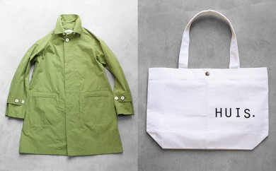 [№5786-1686]HUIS遠州織物タイプライタークロスステンカラーコート(グリーン)&トートバッグ