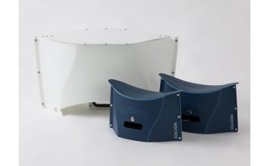 折畳みテーブルPATATTO TABLEmini1個&折畳み椅子PATATTOmini2個セット(ネイビー)
