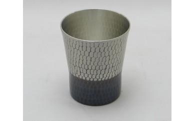 1801504 純銅手打ち鎚目焼酎カップ錫黒仕上げ