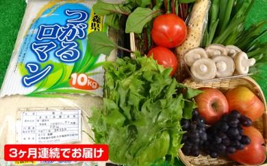 [№5701-0084]【3ヶ月連続】津軽のお米10kgと季節の野菜・果物詰合せ