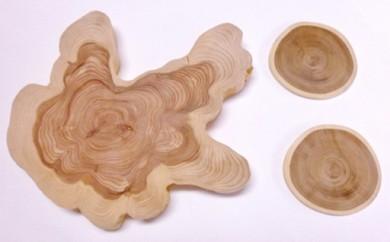 A110:天然木の花台 カイズカイブキとしあわせの木エンジュ