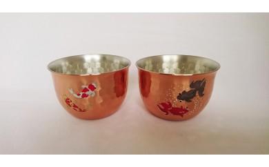 1803060 純銅槌目銅ミラー手描き蒔絵(金魚・錦鯉) ぐい吞み 2点セット