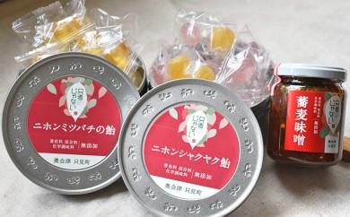 [№5633-0026]【只者じゃない】ニホンミツバチの飴:ニホンシャクヤク飴:蕎麦味噌のセット