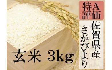 A-21 【29年産新米】佐賀県産厳選さがびより 玄米3kg