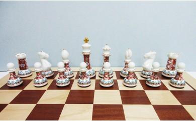 A1400-4 有田焼のチェス駒ハーフ(古伊万里草花地紋)&木製チェス盤セット 陶楽