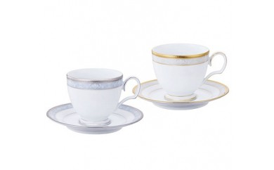 【1-71】ティーコーヒー碗皿ペアセット(ゴールド&プラチナ)