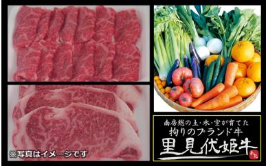 【D17】南房総の土・水・空が育てた「里見伏姫牛」と季節の野菜セット(特選)