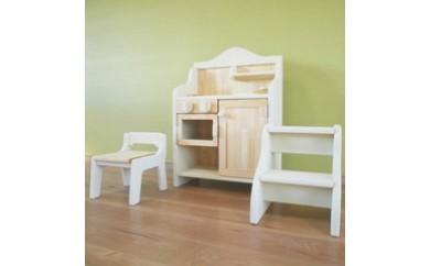 【J004】ままごとキッチンとこども家具のセット