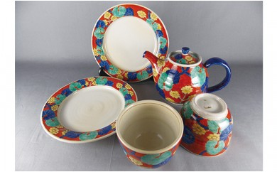 A100-21 ティータイムを彩る赤絵 茶器セット 月桃庵