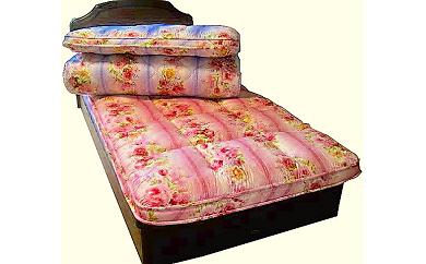 フローリングでも1枚で寝られる!極厚羊毛敷布団(カラー:ブルー、サイズ:ダブル)