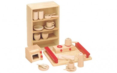 [№5786-1711]木製知育玩具 抗菌ままごとあそびトレイセット 8013