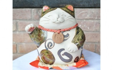 No.048 手作り招き猫 座布団付き(緑釉)