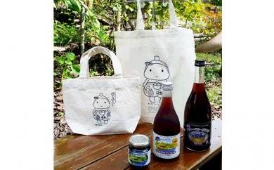 [№5754-0346]菊川市マスコットキャラクターきくのんバッグ2種&ブルーベリー商品詰め合せ