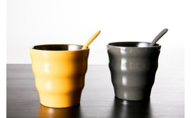 610 香川漆器 木製・漆塗 フリーカップ(からし・グレー)13㎝スプーン付 ペア