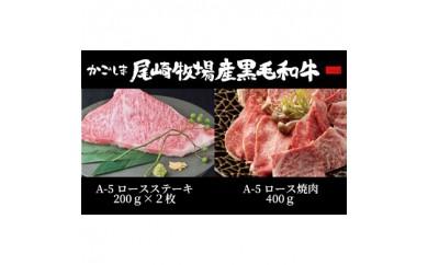 D-028 K2 鹿児島尾崎牧場産黒毛和牛A-5等級 ステーキ・焼肉詰合せ