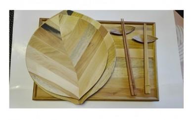 0058-001 木の葉皿(大・中)・トレイ(中)・箸・箸置き各2個