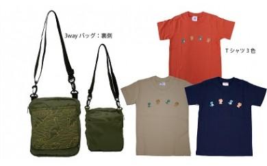 C-9 恐竜刺繍3wayバッグ・子供用Tシャツ2枚