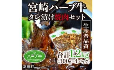 073_fw_x1 <宮崎ハーブ牛タレ漬焼肉用1.2kg>1か月以内に順次出荷