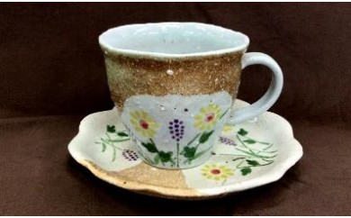 L014 草花コーヒー碗・皿【40pt】