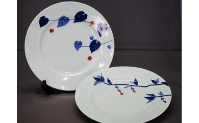 有田焼 青花匠 10インチ皿(アブチロンと草花の2枚セット)