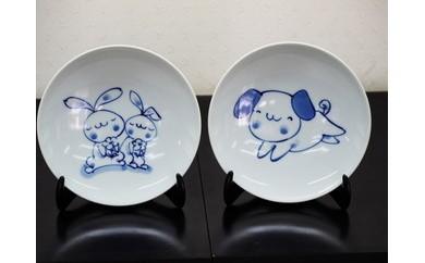 有田焼 青花 いぬとうさぎの丸銘々皿(2枚セット)
