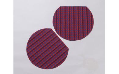 J304 久留米絣 ランチョンマット半月型 赤チェック2枚組