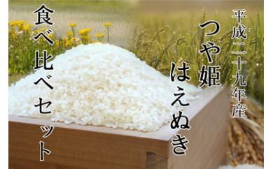 平成29年産 山形県産「つや姫」鮭川産「はえぬき」食べ比べセット20kg