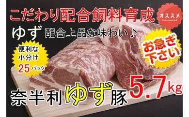 kan002 ドカンと5.7kg!!もっちり食感♪こだわり配合飼料育成!奈半利ゆず豚満喫セット 寄付額12,000円