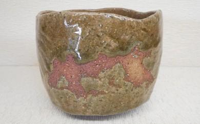 [№5735-0199]虫明焼 荒土灰釉緋色茶碗(黒井千左作)