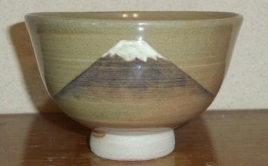 [№5735-0206]虫明焼 窯変富士山の絵茶碗(曙窯作)