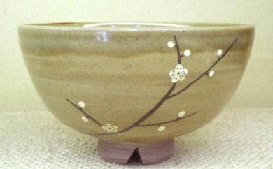 [№5735-0203]虫明焼 灰釉梅の絵茶碗(黒井博史作)