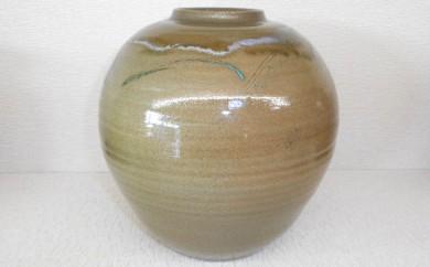 [№5735-0196]虫明焼 窯変線彫壺(黒井千左作)