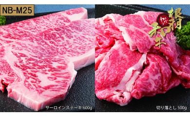 【NB-M25】根羽こだわり和牛セット(サーロイン600g、切り落とし500g)