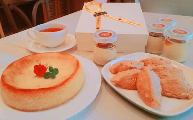 57.名古屋コーチン卵とさつまいものベイクドチーズケーキと口どけプリン&卵白菓子セット