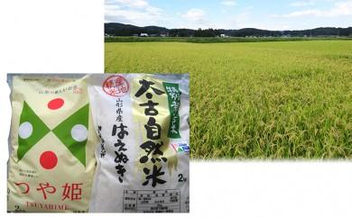 [№5805-1706]鬼嶋庄一郎商店 山形産つや姫2kg太古自然米はえぬき2kgセット