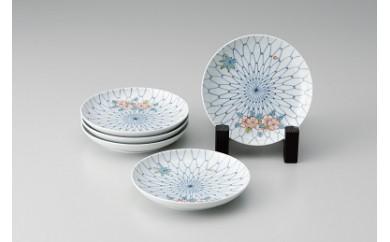 H335色鍋島16cm和皿「網目花散らし」(5枚組)
