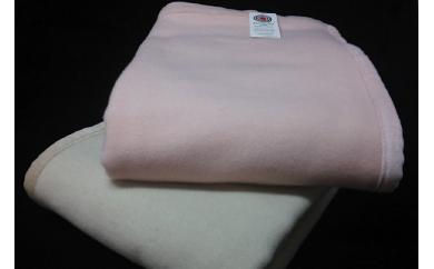 ラムウール毛布 ベージュとピンクの2枚セット