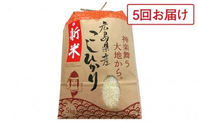 [№5895-0096]広島県安芸高田市産・コシヒカリ10kg(5回お届け)