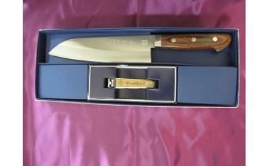 G-48 マホガニー柄文化包丁と吉野杉の爪切りのセット