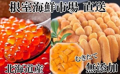 CD-14015 根室海鮮市場<直送> 無添加エゾバフンウニ塩水パック70g×2P、いくら醤油漬け80g×1P[411555]